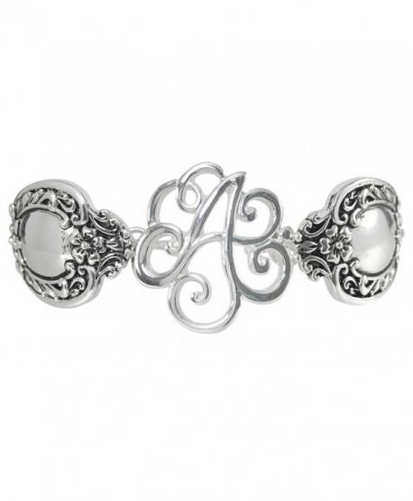 Spoon Handle Style Monogram Initial Silver Tone Magnetic Clasp Bracelet - C112GJGA1V7