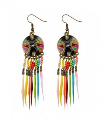 Fashion European Muti Resin Beaded Small Feather Drop Earring Tassel Long Dangle Earrings - Colorful - CN12M2GWVRB