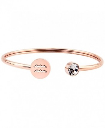 Zuo Bao Simple Rose Gold Zodiac Sign Cuff Bracelet with Birthstone Birthday Gift for Women Girls - Aquarius - CM186HIEX0X
