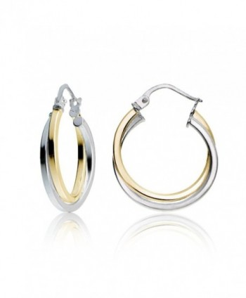 Hoops & Loops Sterling Silver Intertwining Square-Tube Polished Hoop Earrings - C712I6T3CUX