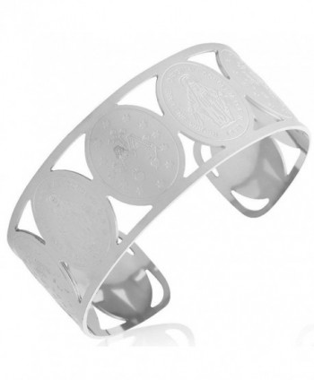 EDFORCE Stainless Steel Cross Virgin Mary Religious Christian Open End Cuff Bangle - CJ11EDZ1U31