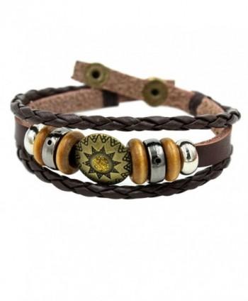Wild Wind (TM) Christmas Tibet Plate Amulet Retro Beads Multi Braided Adjustable Snap Wrap Bracelet - CS121IXWPL1