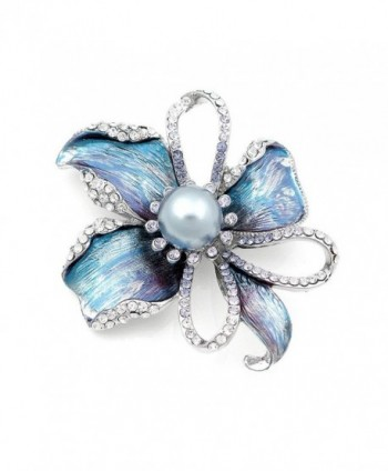 Flower Brooch with Silver Austrian Element Crystal and Grey Fashion Pearl (4668) - CG118SOFMA9
