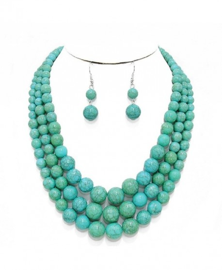 Statement Layered Strands Turquoise Stone-simulated Pearl Beads Necklace Earrings Set Gift Bijoux - CL12N0GMB91