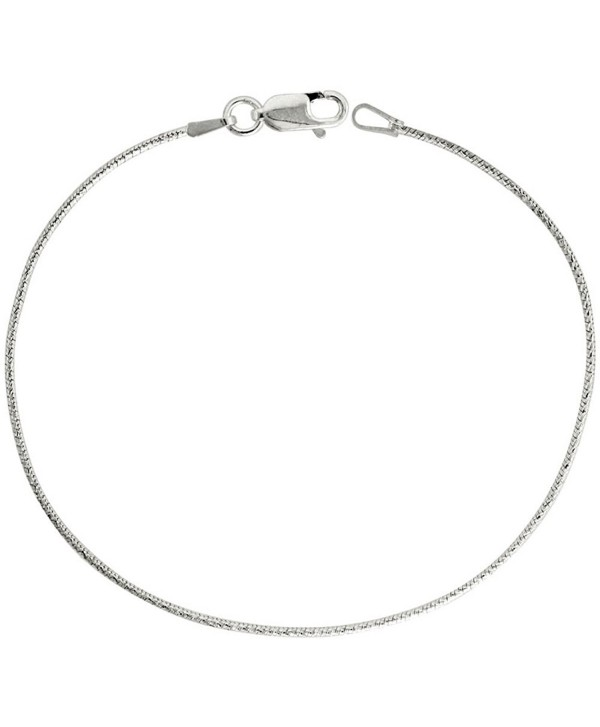 Sterling Silver Snake Chain Necklace 1mm Thin Diamond Cut Finish Nickel Free Italy- 7-30 inch - CS114GQPZ79