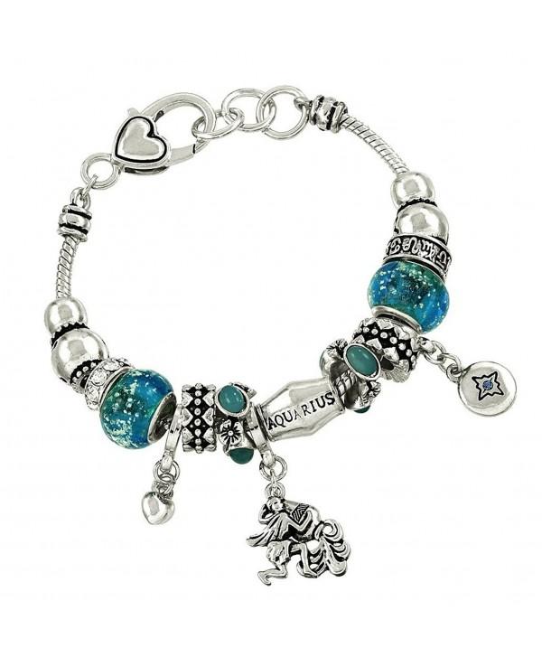 DianaL Boutique Aquarius Zodiac Horoscope Charm Bracelet Water Bearer Gift Boxed - CK11ATLNI55