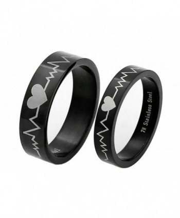 Falling In Love Rings 316L Titanium Steel Engagement Ring ECG Heartbeat couples Love Ring Size 4-10 - C712O0OPRV2