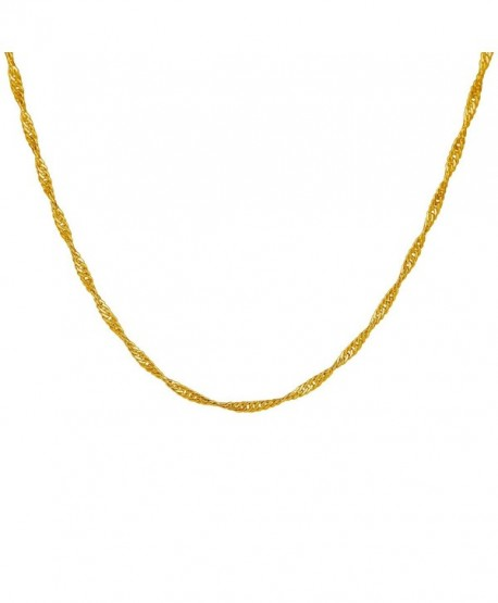 18k Gold Plated 1.2mm Twisted Chain Necklace All Sizes - CY12B6ZS6WD