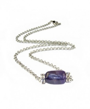 "Amethyst Nugget and Crystal Roundell Chain Necklce 18"" Assembeled in the U.S.A - CA12M0S4MIH"