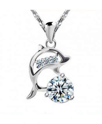 FB Sterling Silver Coating Cheerful Dolphin Match Transparent Diamond Pandent Necklaces - CR122025I7R