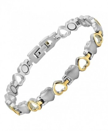 Womens Love Heart Titanium Magnetic Therapy Bracelet Adjustable By Willis Judd - CD113OED6RF