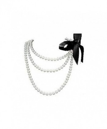 "Fun/Flirty White Pearl 60"" Necklace with Removable Black Ribbon - Faux Pearl Prom / Bridesmaid Jewelry - CL116YGQVRH"