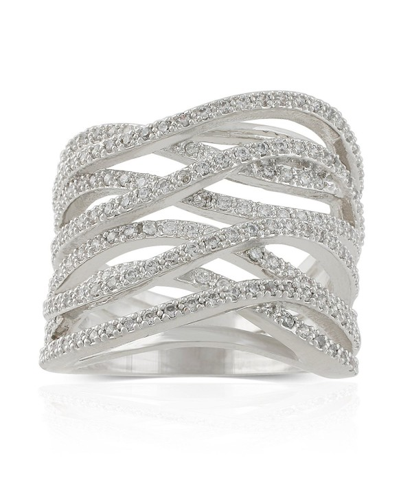JanKuo Jewelry Rhodium Plated Cubic Zirconia Criss Cross Wide Band Cocktail Ring - CN12BNKD8J7