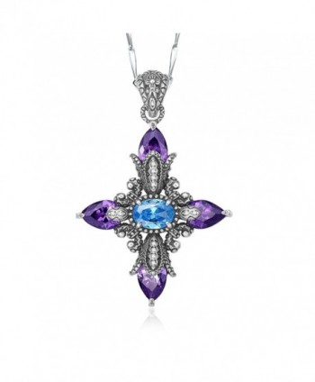 "Merthus Retro Created Blue Topaz & Amethyst Cross Pendant Necklace for Women-18"" - blue - CN17Z6XQ8MO"