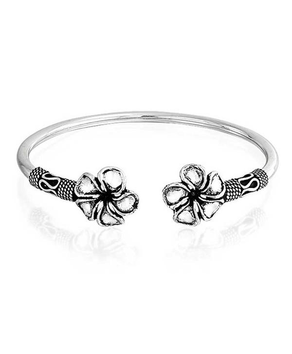 Bling Jewelry Plumeria Flower Bali Style Cuff Bracelet Oxidized Silver - C911J6R87CX