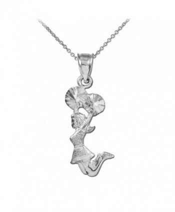 925 Sterling Silver Cheerleader Charm Pendant Necklace - C2125UUKK3X