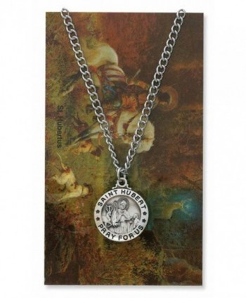 Saint Hubert 3/4-inch Pewter Medal Pendant Necklace with Holy Prayer Card - C5117J9HSN9