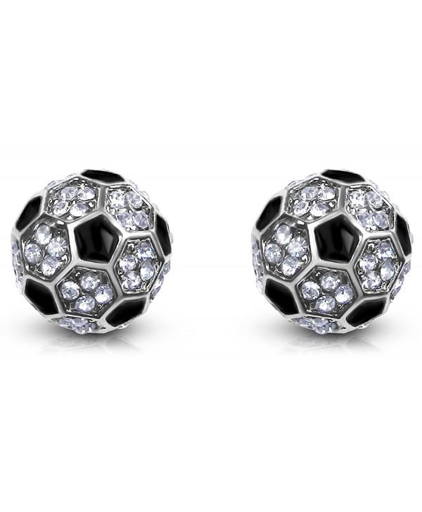 Small Crystal Embellished Soccer Ball Stud Earrings Silver Tone Girls- Teens- Women - Silver & Black - C4126AVBW1J