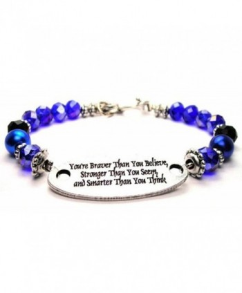 You're Braver Than You Believe- Stronger Than You Seem Blue Crystal Beaded Toggle Bracelet - CA11FA7M7OL