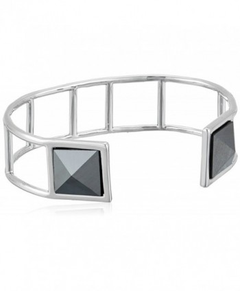 "Vera Bradley ""Casual Glam"" Casual Glam with Black Cuff Bracelet - Silver Tone With Black - CT12O0Z5D2H"