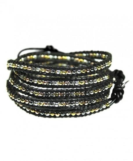 Beautiful Silvertone- Goldtone- Gray Nugget Bead Leather Wrap Bracelet- 5 Times Wrap - CF110OMB1BX