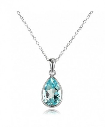 Sterling Silver Blue Topaz Bezel-Set Pear Teardrop Pendant Necklace - Large - 12x8mm - C3186Z5UESU