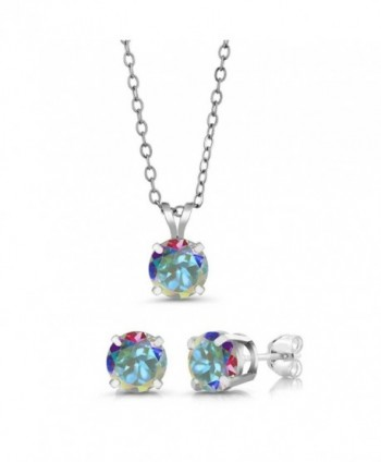 3.00 Ct 6mm Mercury Mist Mystic Topaz 925 Sterling Silver Stud Pendant Earrings Set - C612J386Y6P