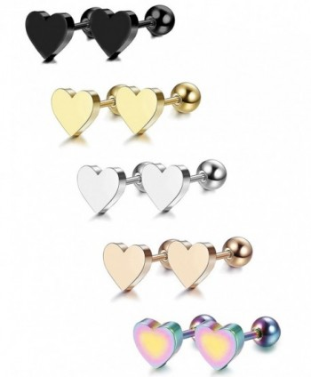 LOYALLOOK 5 Pairs Stainless Steel Heart Stud Earrings Barbell Piercing Studs for Women Men Teens - C918647AKE5
