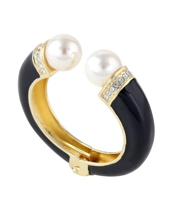 Kaymen Opened Double Pearl Cuff Bracelet 18K Gold Plated Enamel Novelty Bangle - CA124VQA7VL