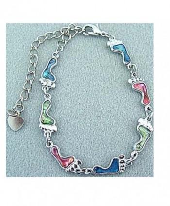 Anklet / Bracelet ~ Footprint ~ Genuine Shell ~ Multi-color ~ Silvertone - CI11C5OBDLB