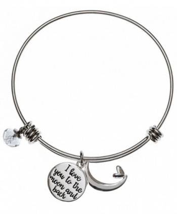 Carly Creation I Love You To The Moon And Back Silver Expandable Charm Bangle Bracelet - CV12JQPPXDZ