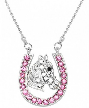 Lucky Horseshoe and Horse/Pony Silver Tone Necklace Choose Pink- Multicolor or Clear Crystals - CH17YKX3E2Q