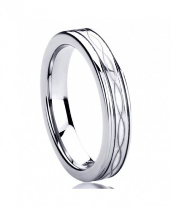 4MM Titanium Womens Rings Laser Etched Infinity Patterned Comfort Fit Wedding Bands - CF11DT78W3P