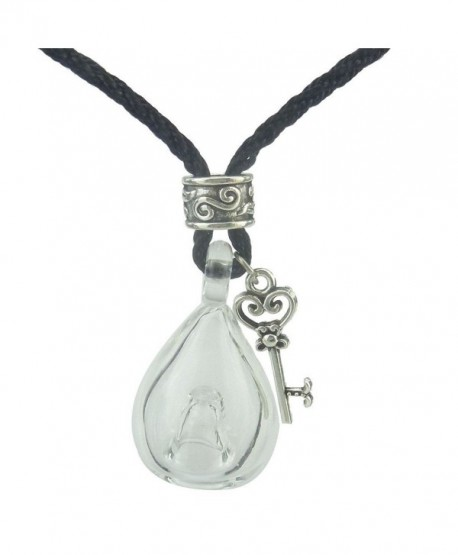 Clear Glass Perfume Bottle Necklace for Essential Oils- Key Pendant Necklace - CR12EFPGYRF