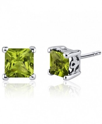 Peridot Stud Earrings Sterling Silver Princess Cut 2.00 Carats - CL116ULJMGN