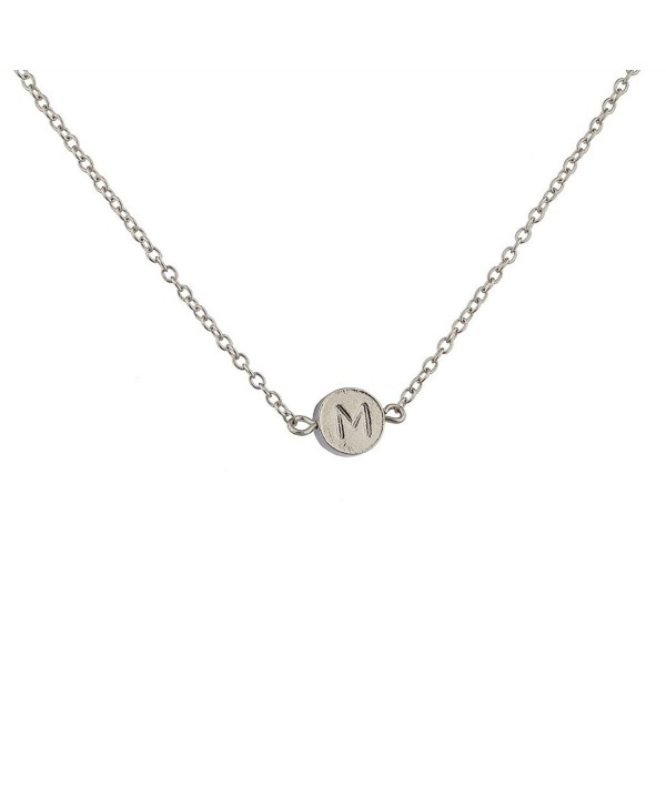 "Lux Accessories Delicate Simple Round ""M"" Initial Name Pendant Necklace. - C8129G6R37D"