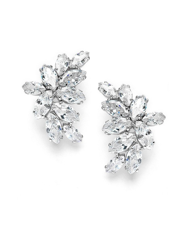 Mariell Bridal Wedding CZ Clip Earrings with Marquis-Cut Clusters - Great Mother of Bride Clip Ons - CK11ZP6UFO7