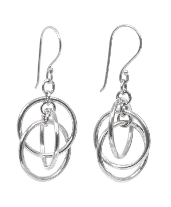 NOVICA Modern 3 Ring Sterling Silver Dangle Earrings- 'Ring Ring' - CH111DNFRMB