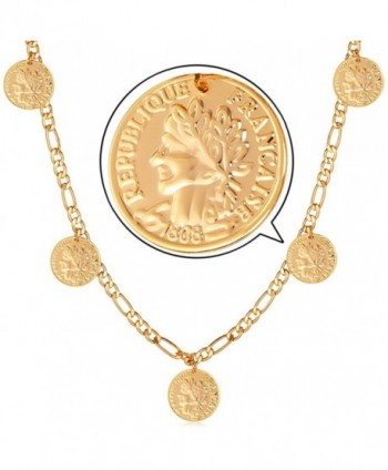 U7 Women 18K Gold Plated Queen Coin Charm Figaro Chain Necklace - C51263AA2MB