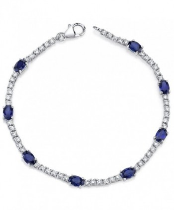 Created Sapphire Bracelet Sterling Silver Rhodium Nickel Finish 4.25 Carats CZ Accent - C51141DRNOP