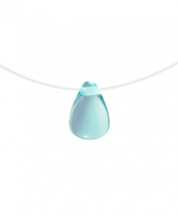 Wicary Invisible Necklace Teardrop Crystal Pendant Necklace Fishing Line Chain - Light blue-calmness - C5184SAKZT7