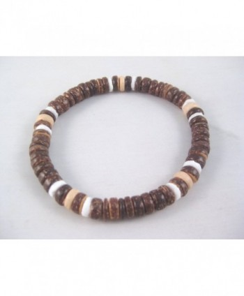"One New 9"" Coco Bead & Puka Shell Stretch Bracelet / Anklet - CK11FTSCVDT"