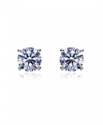 14K White Gold Round Cubic Zirconia Basket Setting Solitaire Stud Earrings (Other Sizes) - CB116WHUMOB