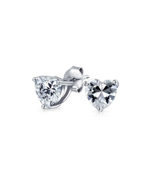Bling Jewelry Classic CZ Heart Stud earrings 925 Sterling Silver 5mm - CX115W5CK8P