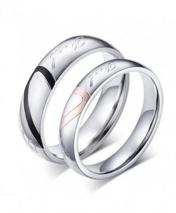 "DIB Stainless Steel His and Hers Heart Shaped Promise Rings ""Real Love"" Couple Wedding Bands - C417WTQG2QT"