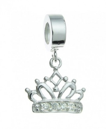 Sterling Silver Crown Clear Cubic Zirconia European Style Dangle Bead Charm - C611A0MM6XX