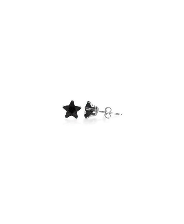 Gem Avenue 925 Sterling Silver 5mm Star Black Cubic Zirconia Post Back Stud Earrings - CE1123LQJAP