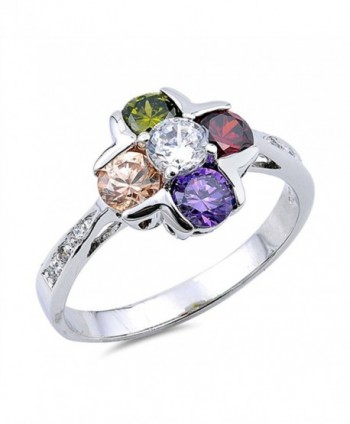 Multicolor Simulated CZ Cute Flower Round Ring New .925 Sterling Silver Band Sizes 5-9 - CP12JBXI8AL