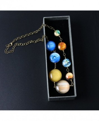 Planet Pendant Necklaces Women Double sided in Women's Chain Necklaces