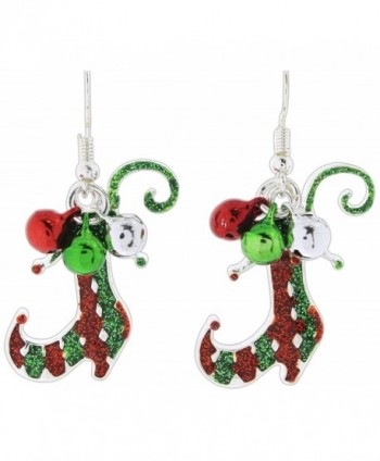 Periwinkle Festive Red & Green Glittered Enamel Elf Boots Dangle Earrings - CI187G9YWZ0